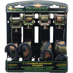 """1"""" x 15' Camouflage Ratchet Tie Down - 4 Pack"""